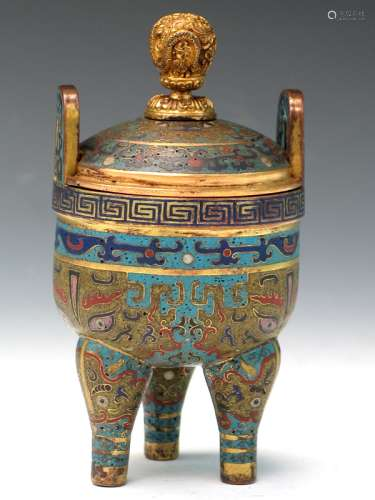 Chinese Cloisonne Incense Burner with Lid, Qianglong Mark.