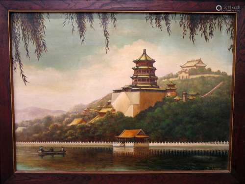 Chinese Summer Palace, Oil Painting on Canvas, signed S, Liaw.