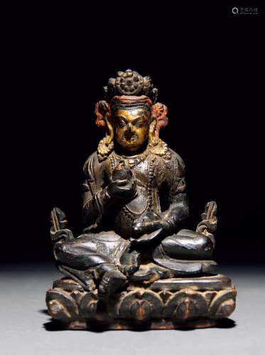 明代 紫檀漆金加彩黄财神坐像