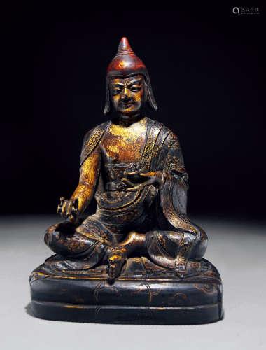 清代 紫檀漆金马哈嘎拉坐像