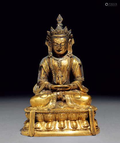 清乾隆 铜鎏金无量寿佛造像