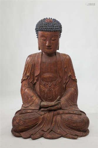 明代 木雕彩绘如来坐像