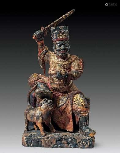 清早期 木雕财神像