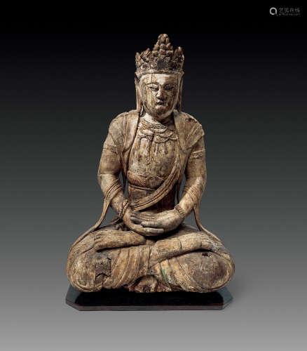 明代 菩萨木雕坐像