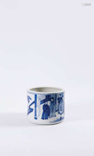 A BLUE AND WHITE BRUSHPOT(BITONG) QING DYNASTY, KANGXI PERIOD