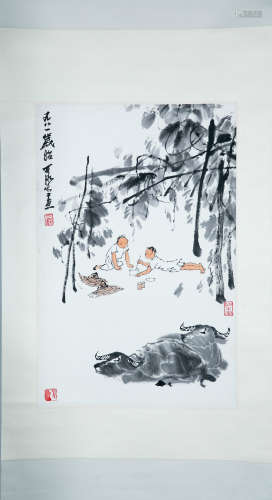 CHINESESCROLL PAINTING OF BOY HEARDING, 20TH CENTURY