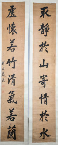 PAIR OF CHINESE CALLIGRAPHY COUPLET BY DAIXI, 19TH CENTURY