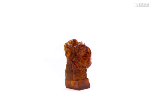 A Chinese Carved Amber Decoration