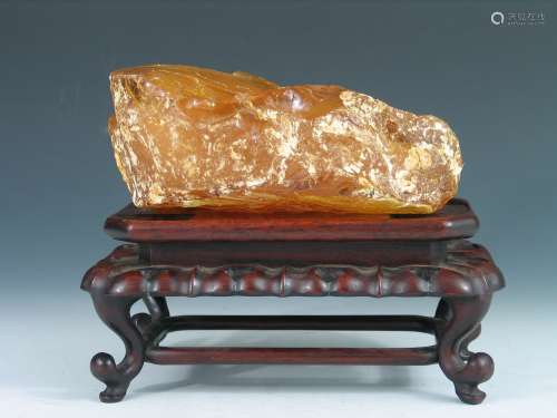 Very Rare Huge Natural Amber Boulder with Rose Wood Stand