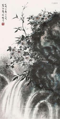 黎雄才 - 菊石圖 紙本 鏡片