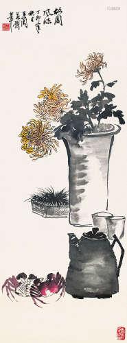 王蘭若 - 菊蟹圖 紙本 鏡片