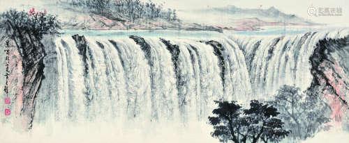 黄君璧山水横幅(b.1925)设色纸本镜片图片