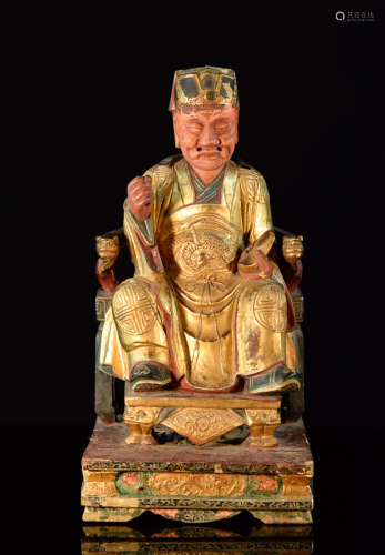 Chinese Lacquered Wood Seated Figurine