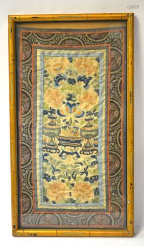 Chinese Silk Embroidery Framed Panel