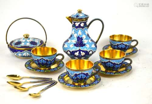 Russian Silver Enamel Tea Set