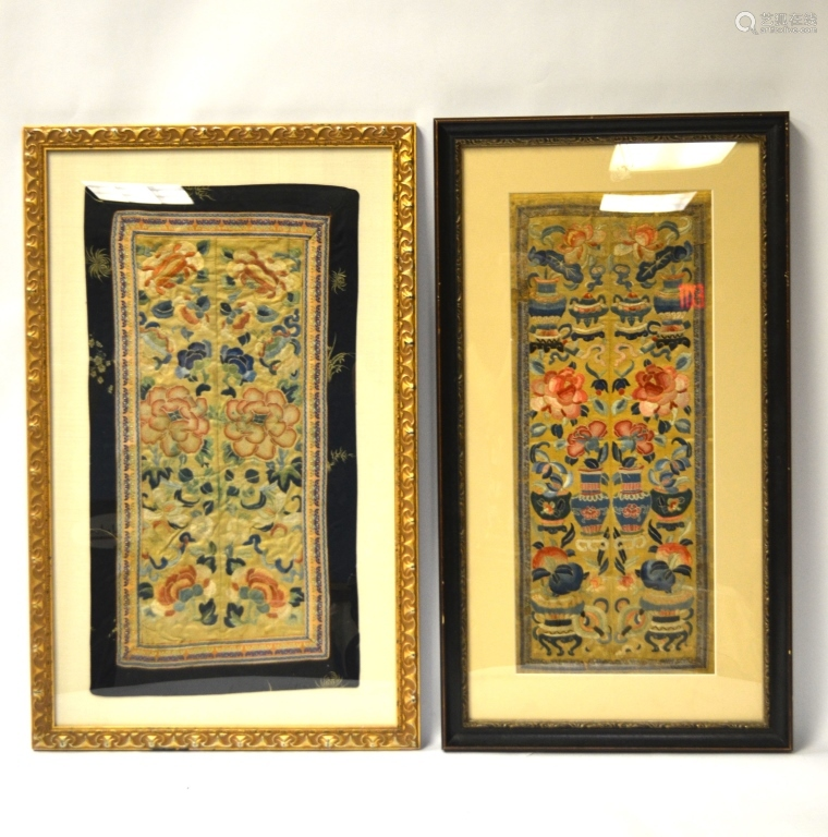 Two Chinese Framed Silk Embroidered Panels