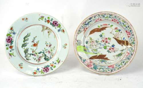 Two Chinese Famille Rose Export Plates