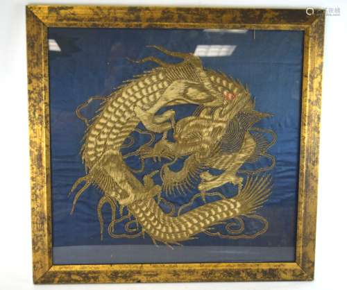 Chinese Framed Silk Embroidered Dragon Panel