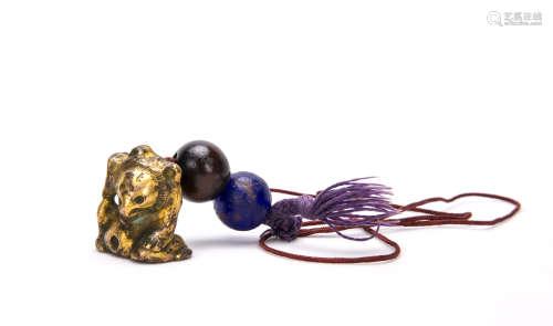 A Chinese Gilt Bronze Bear Decoration
