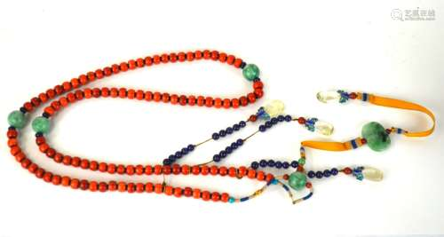 Chinese 108 Coral Beads Court Necklace