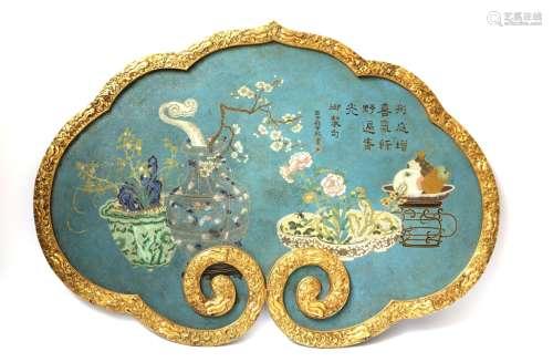 Large Chinese Lingzi Shape Cloisonne Plaque