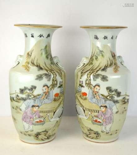 Pr Large Chinese Famille Rose Vases
