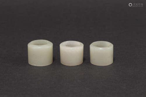 18-19th Chinese Antique Jade Archer's Rings清 白玉扳指一組