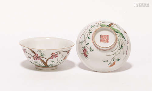 A Pair of Chinese Antique Rose Famille Porcelain Bowls清道光款 粉彩碗一對