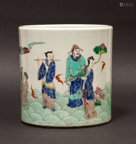 19th Chinese Antique Rose Famille Porcelain Brush Pot晚清 筆海