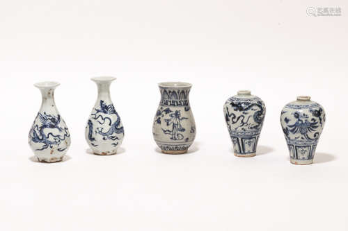 Group Chinese Antique Blue&White Vase明清瓷器一組