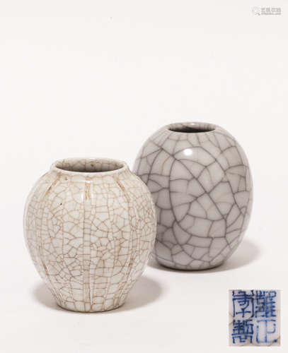 Group of 19th Chinese Antique Glazed Water Pot清 哥窯水盂一組
