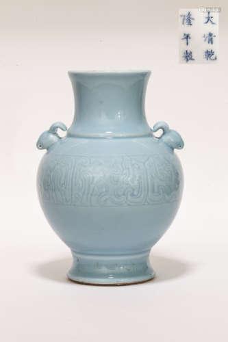18th Chinese Antique Lavender-Glazed Porcelain Vase清乾隆 天藍釉仿古大瓶