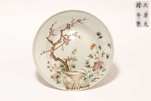 19th Chinese Antique Rose Famille Porcelain Plate清光緒 粉彩大盤