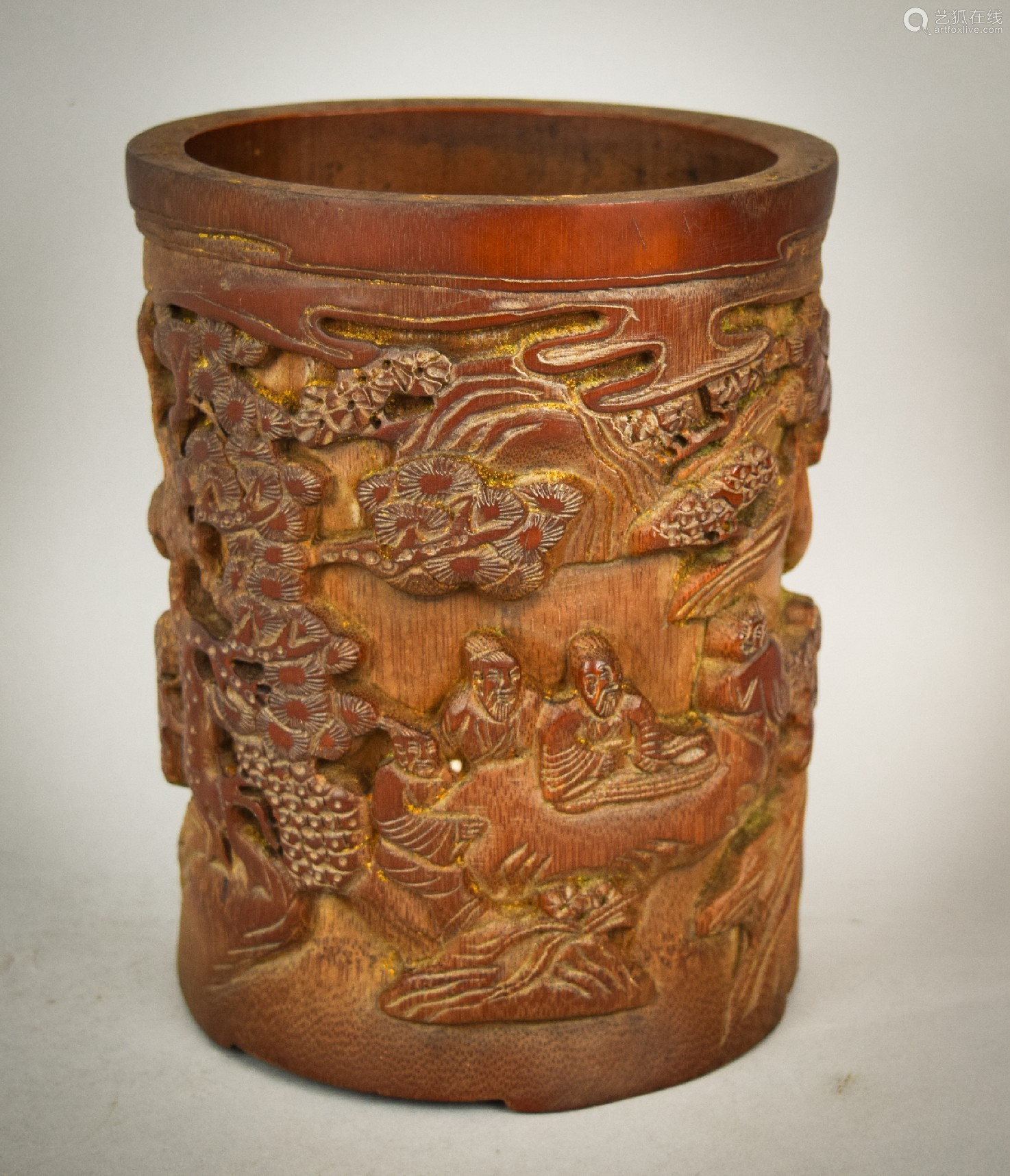 Bamboo brush holder china th century relief carved