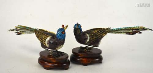 Pr Chinese Silver Enamel Birds on Wood Stands