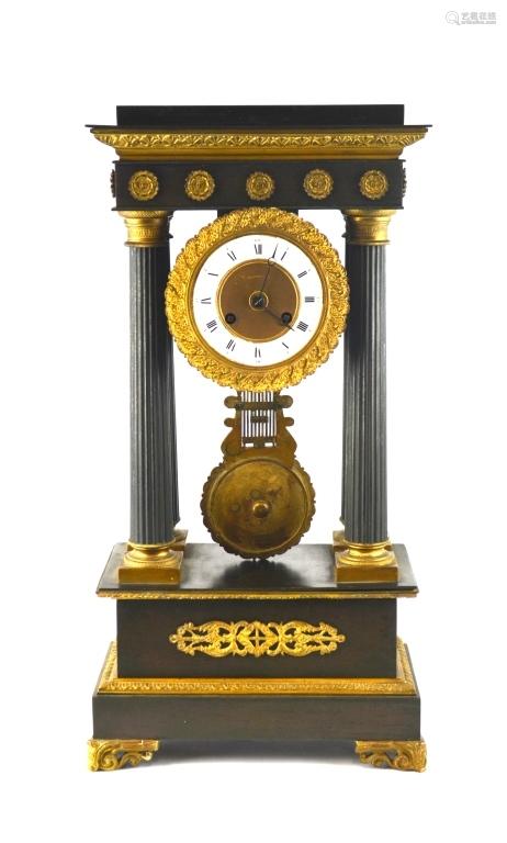 Empire Tiffany & Co Bronze Pendulum Clock