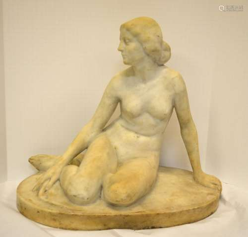 French Nude Lady White Marble Sculpture