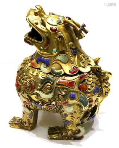 Chinese Gilt Bronze Foo Dog Censer w/Gemstone