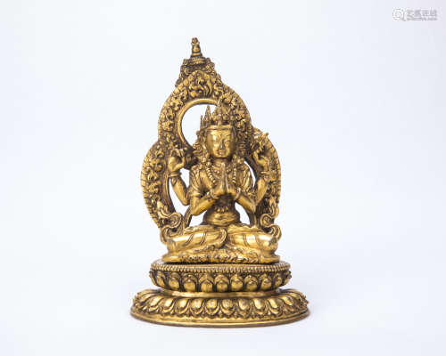 A Chinese Gilt Bronze Buddha