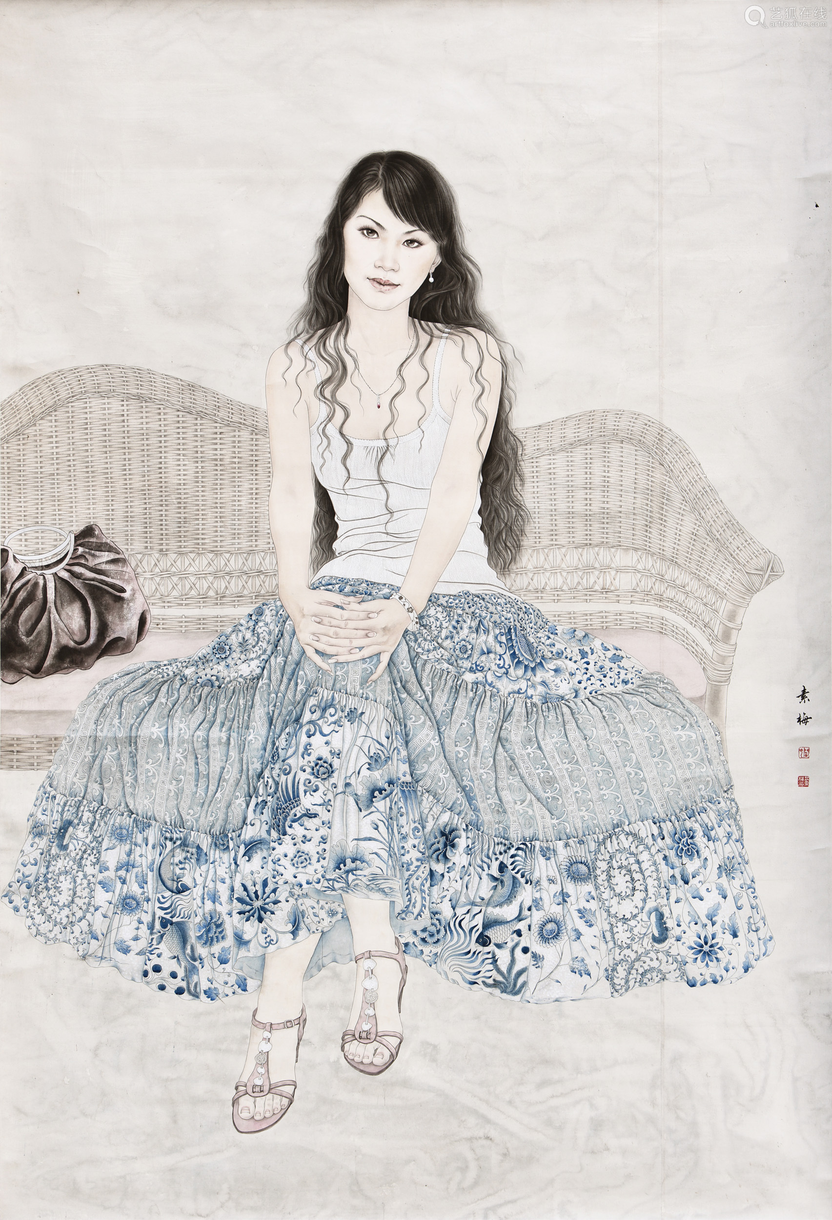 yan sumei ink and color on paper beauty painting deal price