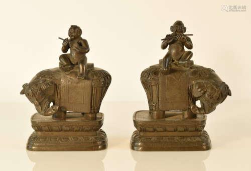 Pair Chinese Bronze Boy on Elephant