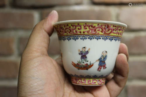 Chinese Porcelain Cup with Children Playing Scene