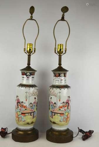Pr Chinese Famille Rose Vases Lamp Bases