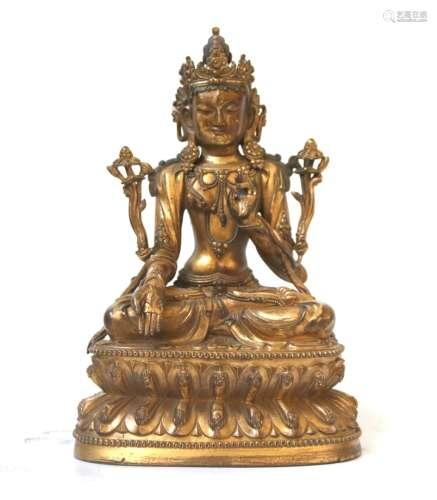 Important  Ming Chinese Gilt Bronze Buddha Figure
