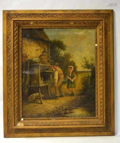 Antique Framed Oil Painting on Canvas - Locker