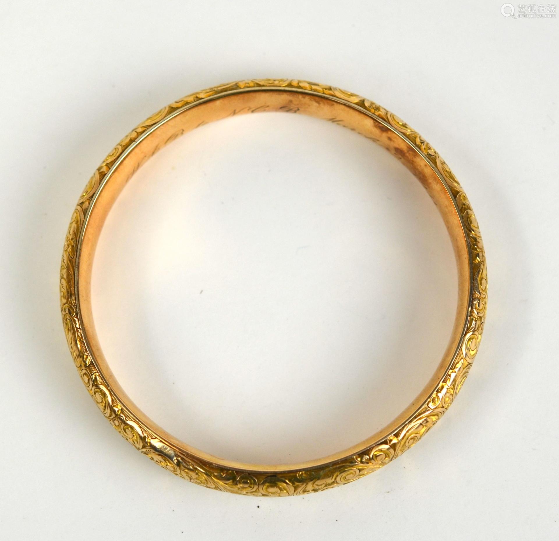 14K Gold Victorian Style Bangle.