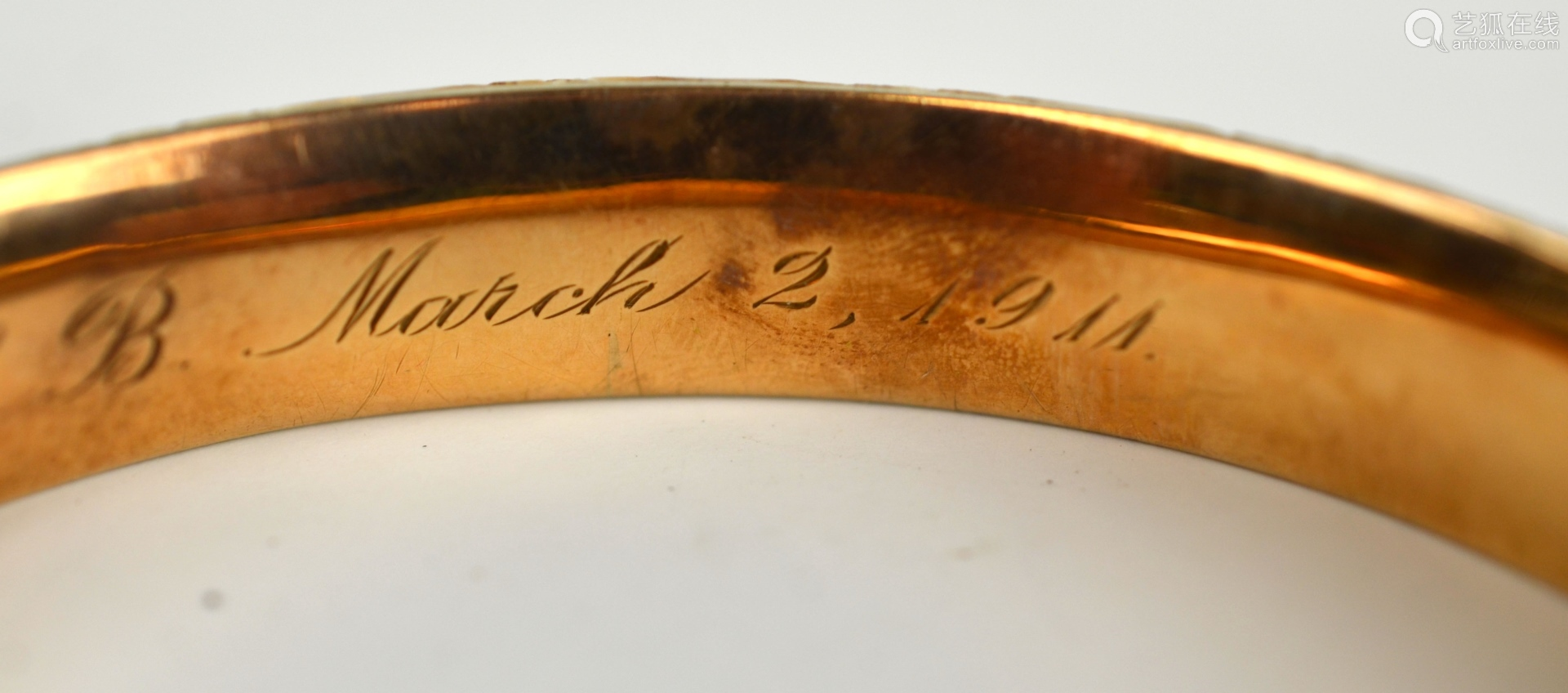 14K Gold Victorian Style Bangle.