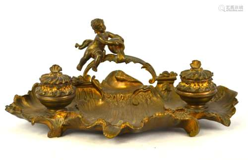 Antique Bronze Double Inkwell w Churb
