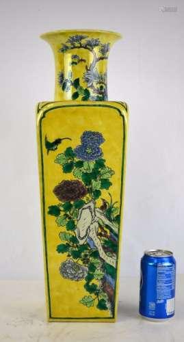 Chinese Famille Verte Vase w Yellow Ground