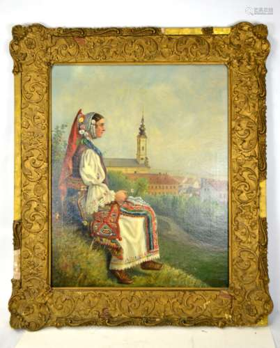 Framed Oil Painting with Spain  Lady